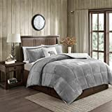 Designer King Size Beds Woolrich Alton King Size Bed Comforter Set - Grey, Ivory, Reversible Solid – 4 Pieces Bedding Sets – Ultra Soft Plush to Sherpa Bedroom Comforters