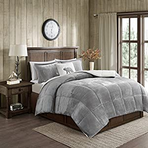 Woolrich Alton King Size Bed Comforter Set - Grey, Ivory, Reversible Solid – 4 Pieces Bedding Sets – Ultra Soft Plush to Sherpa Bedroom Comforters