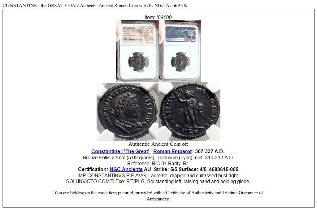 310 IT CONSTANTINE I the GREAT 310AD Authentic Ancient R ...