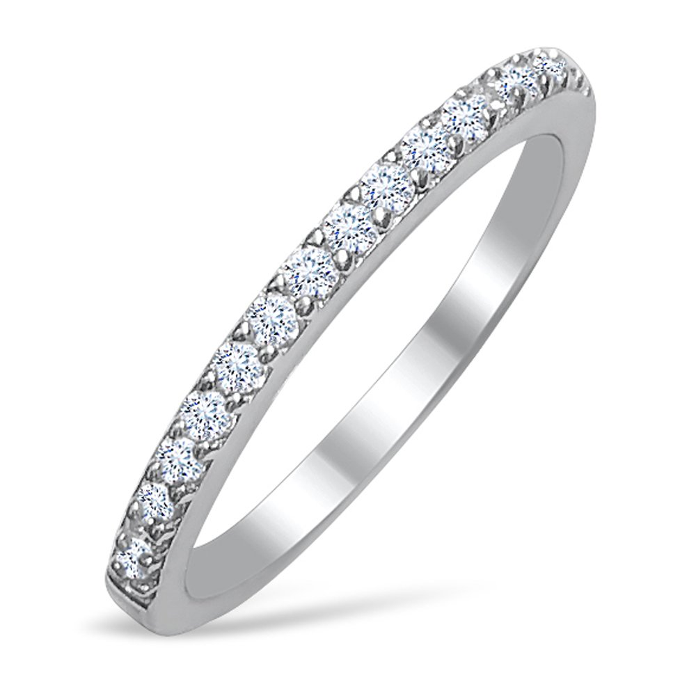 DTLA Ladies Thin Band .925 Sterling Silver Micro Pave Cubic Zirconia (6)