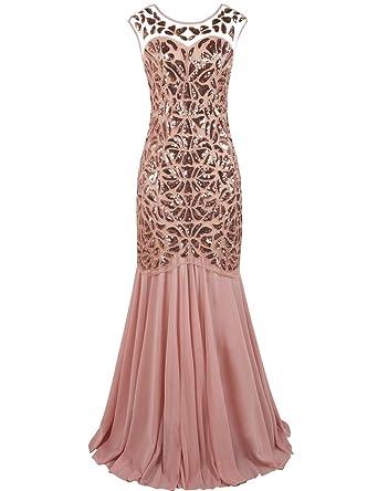 10b5c45a00f kayamiya Women s 20s Beaded Floral Maxi Long Gatsby Flapper Prom Dress S  Pink