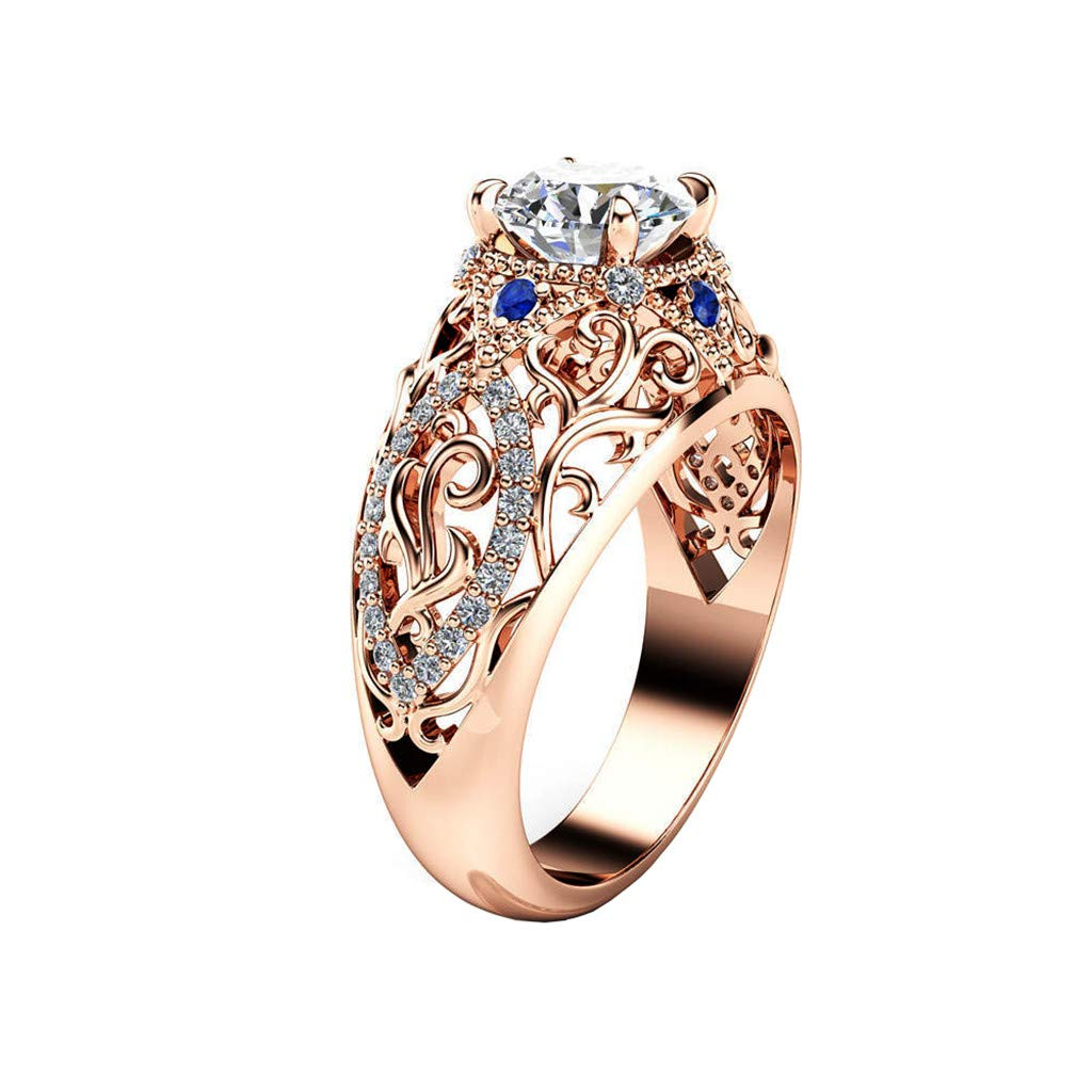 Luxury Noble Rose Gold Openwork Flowers With Blue Diamond Ladies Ring Jewelry Eternity Wedding (Gold, Size: 6)