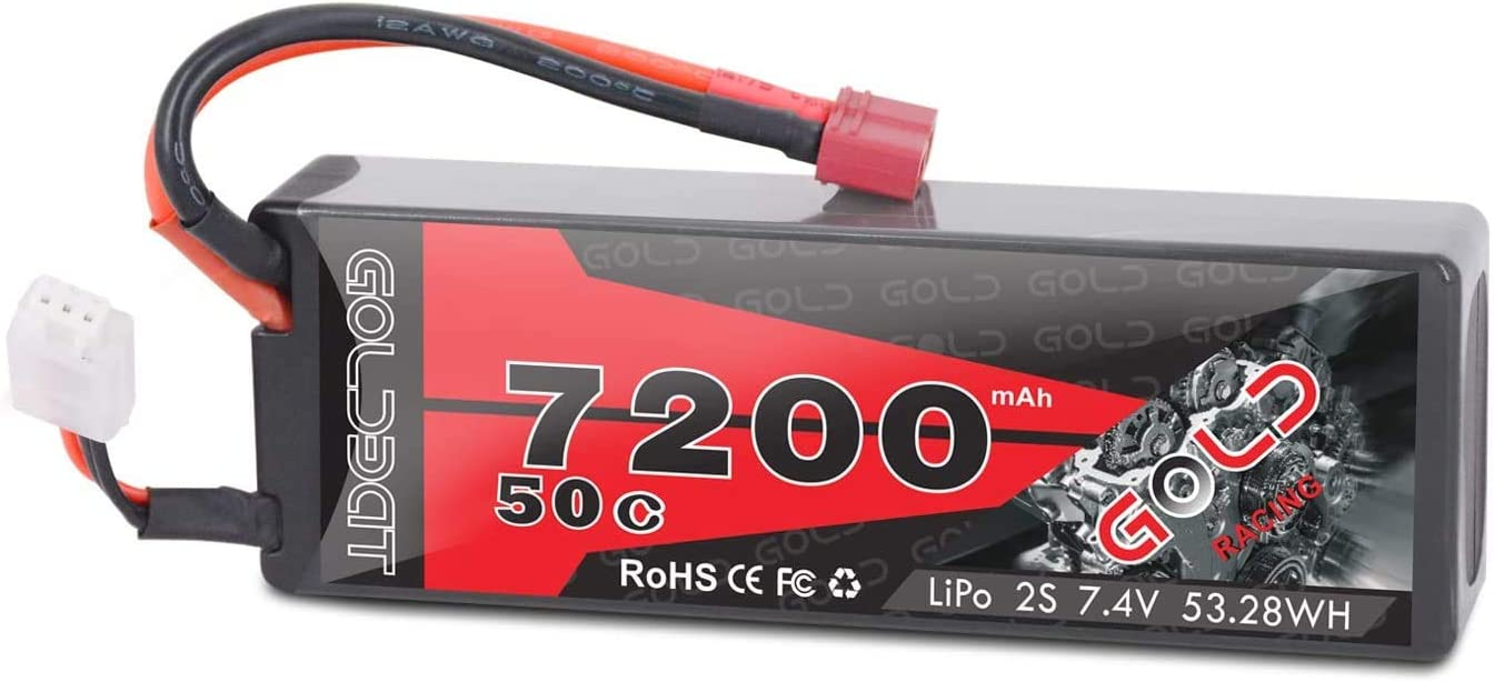 GOLDBAT Batería de 7200 mAh 7,4 V 50 C 2S RC con conector Deans batería de repuesto de polímero de litio para avión, helicóptero, barco, buggy, Wing, coche RC