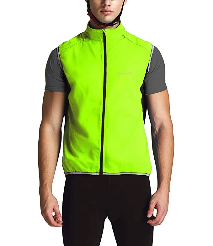 Outto Men's Reflective Running Cycling Vest for Safty and Windproof