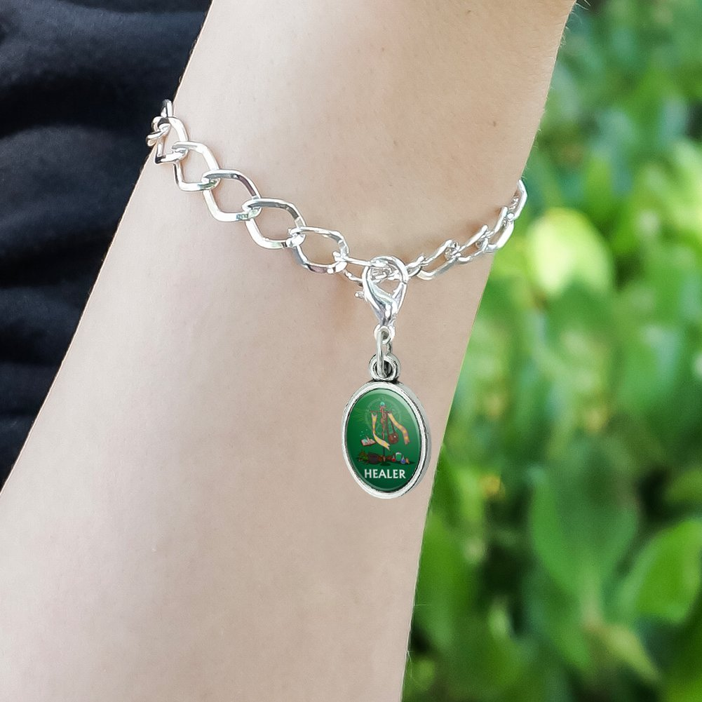 GRAPHICS /& MORE Healer Cleric RPG MMORPG Class Role Playing Game Antiqued Bracelet Pendant Zipper Pull Oval Charm with Lobster Clasp