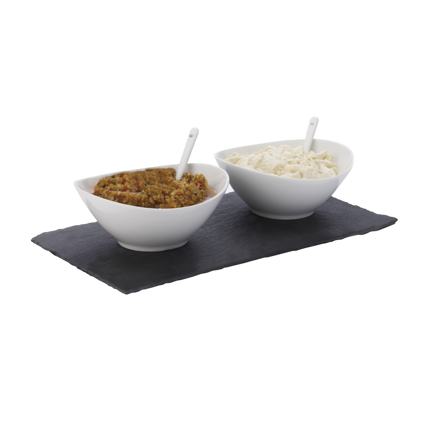 Maxwell and Williams Basics Slate 5-Piece Rectangular Dipping Set, White Fitz and Floyd LH9005