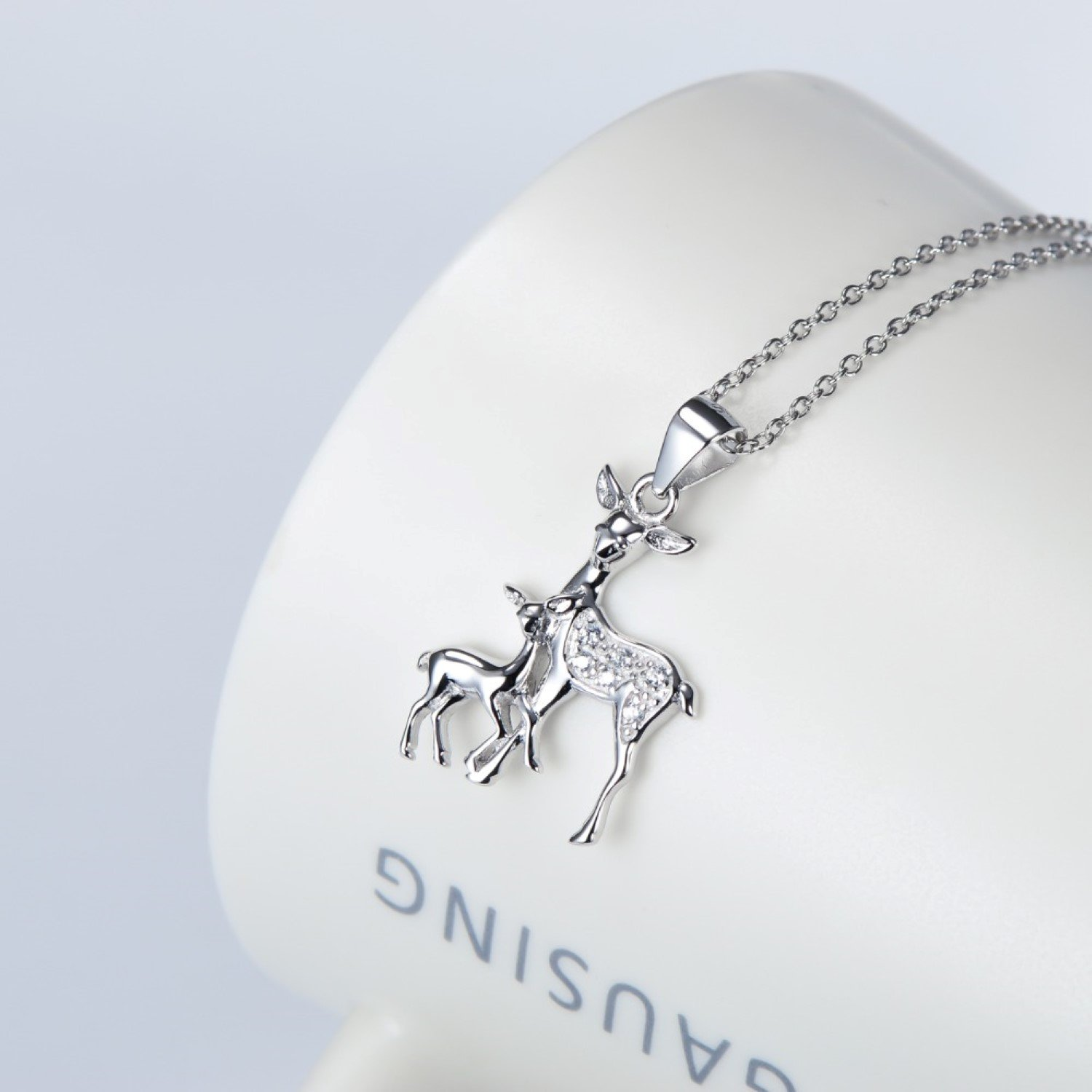 CS-DB Pendants Necklaces Silver CZ Crystal Mother and Baby Deer Antler Girls /& Jewelry