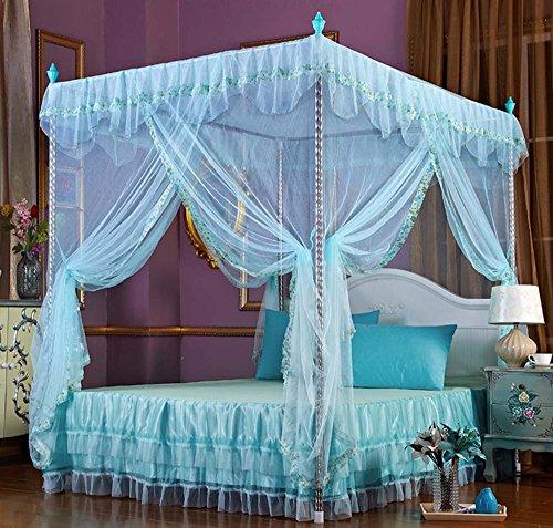Nattey Flowers 4 Corners Princess Bedding Curtain Canopy Mosquito Netting Canopies (Twin, Light Blue)