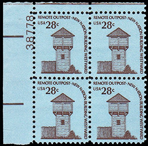 Americana Plate (United States Scott 1604 28c Fort Nisqually Americana Plate 38778 Block Upper Left. mint never hinged dull gum.)