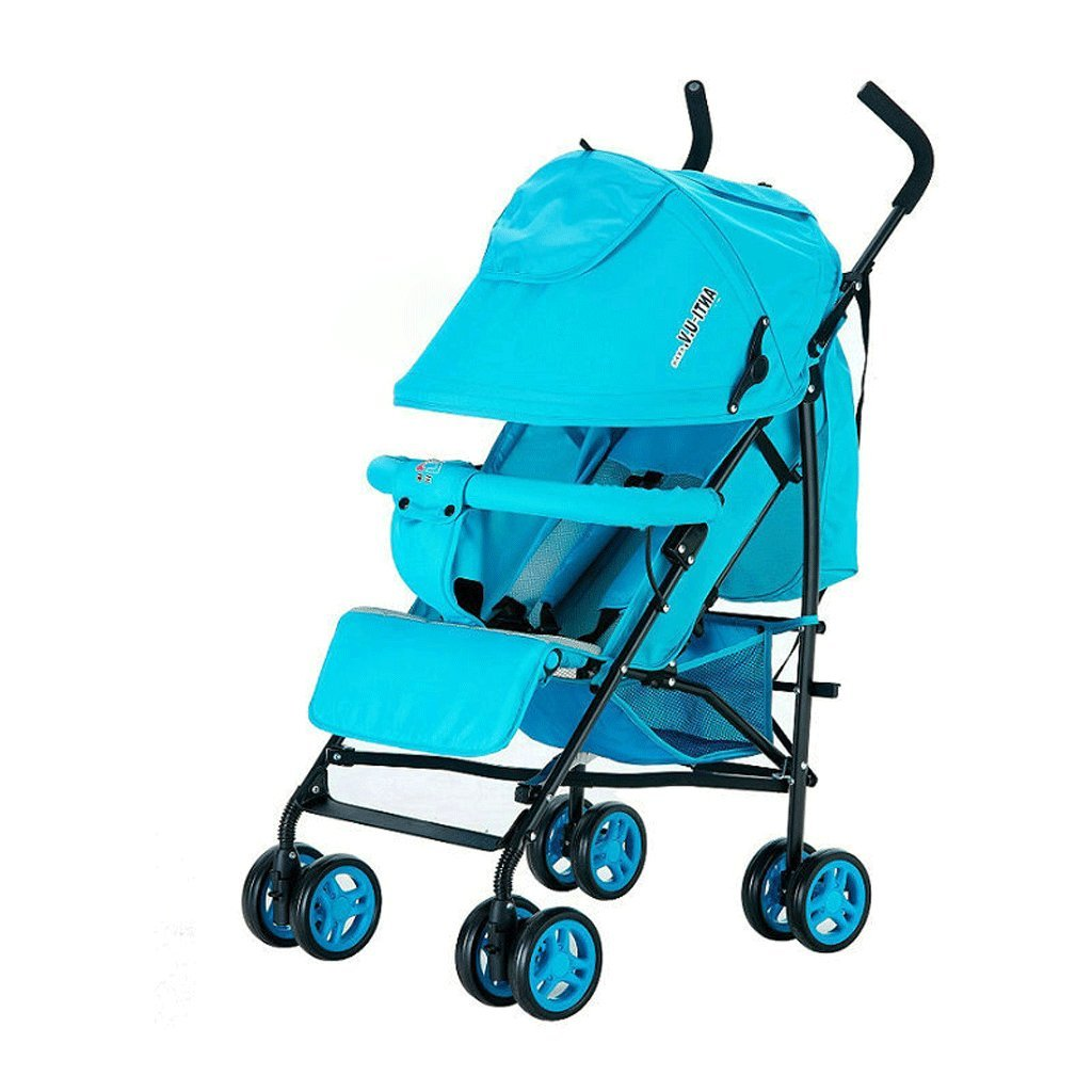 赤ちゃんのベビーカー超軽量ポータブル折りたたみリクライニングトロリー子供のトロリー(青)(ピンク)60 * 46 * 100cm ( Color : Blue ) B07BVZVFKC