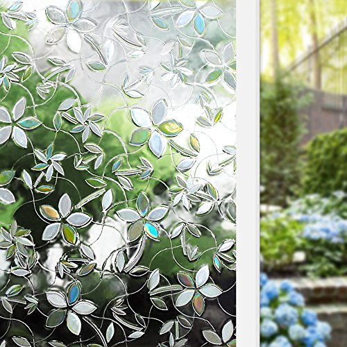 Rabbitgoo 3D Blossoms No Glue Static Cling Privacy Glass Window Films 2.95ft By 6.5ft (35.4In. by 78.7In.) (Attention: No Enough Privacy for Bathroom)