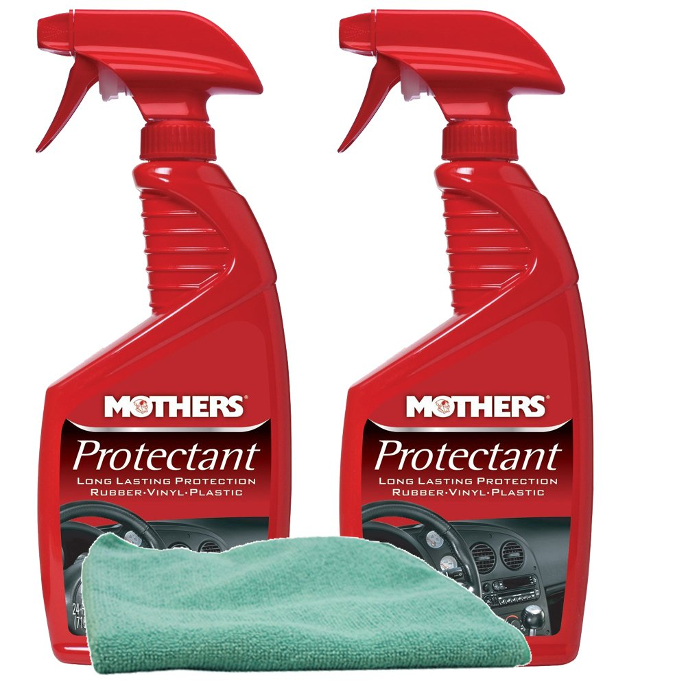 Mothers Rubber & Vinyl Protectant Spray (24 oz) Bundle with Microfiber Cloth (3 Items)
