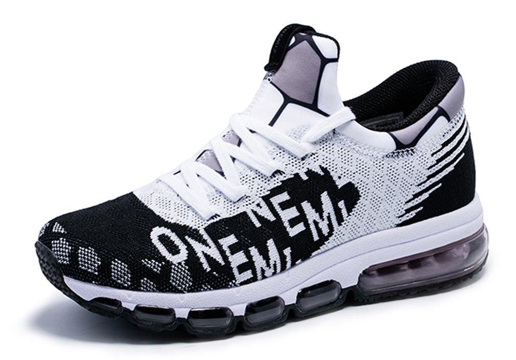 MT-onemix Men's Women's Letter Print Air Cushion Mesh Running Sneakers 9.5 D(M) US=Foot Length 10.62