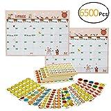 Biubee 6500 Pcs Kids Reward Stickers- 220 Sheets 11 Designs of Emojis, Smiley Face,Stars Incentive Stickers for Teachers Classroom School Bulk Use