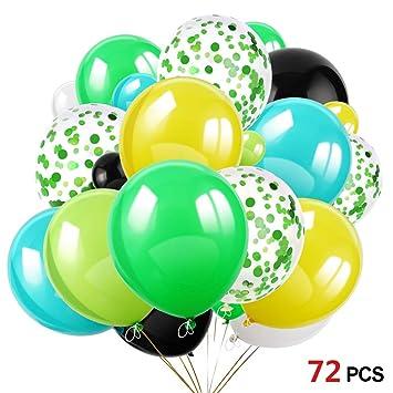 HOWAF 72 Piezas Globos de Confeti de Verde Globo de Fiesta de Colores 30cm Helio Globos de Látex para Bodas, Selva cumpleaños, Baby Shower, Hawaiana, ...
