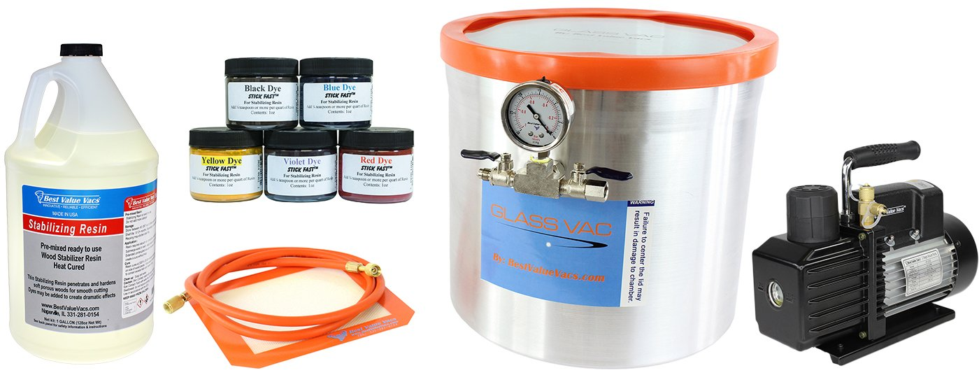 Ultimate Wood Stabilizing Kit- 5 Gallon Aluminum GlassVac Vacuum Chamber, VE225 4 CFM 2 Stage Vacuum Pump, 1 Gallon BVV Premixed Stabilizing Resin, 5 Pack Stick Fast Powder Dyes