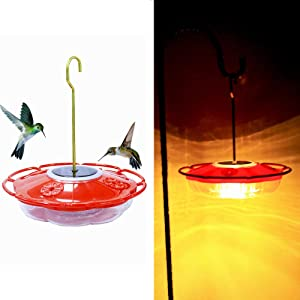 EiGreen Hummingbird Feeder Solar Hanging Hummingbird Feeder,16 oz 4 Feeding Ports, Built-in Moat, Nectar Food Dual Purposer Container, Red (Warm White Lights )
