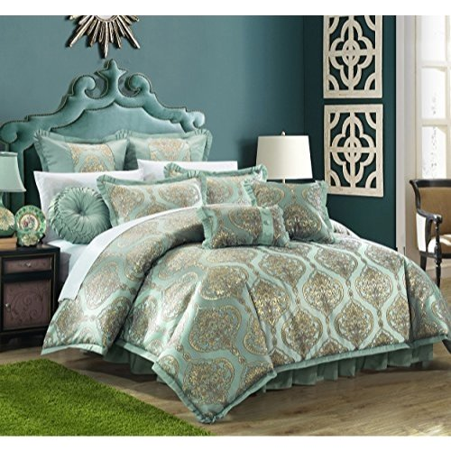 Contemporary Bedding Ensembles - Chic Home 9 Piece Como Decorator Upholstery Quality Jacquard Motif Fabric Bedroom Comforter Set & Pillows Ensemble, Queen, Blue