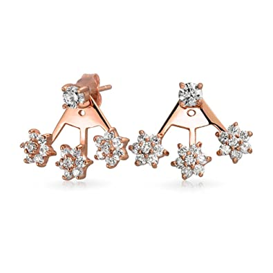412d95dea Image Unavailable. Image not available for. Color: Cubic Zirconia Flower  Fan CZ Ear Back Front Stud Jacket Earrings ...
