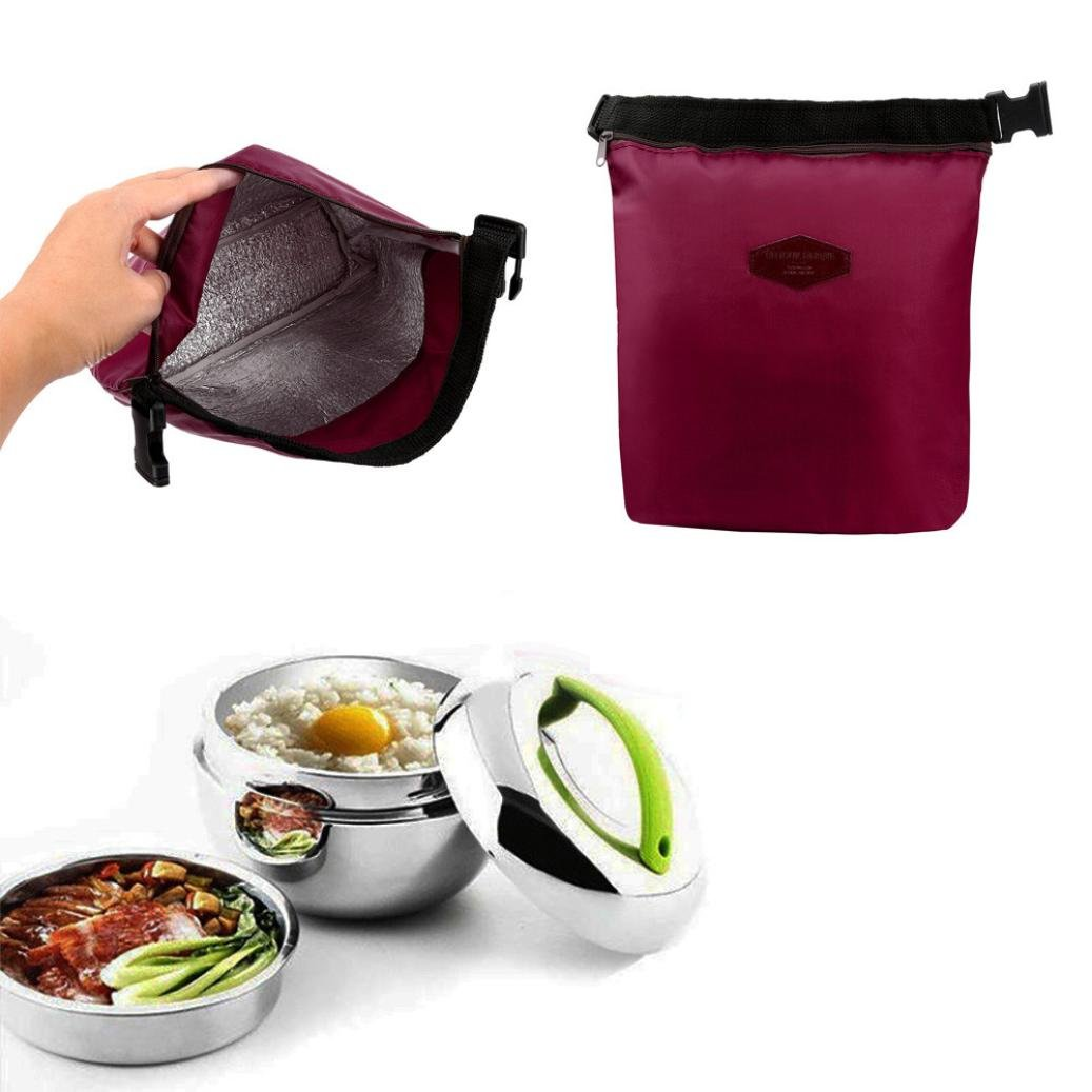 Clearance Sales!! Insulated Lunch Bag Lunch Box for Kids, Waterproof Outdoor Travel Picnic Carry Case (Wine Red)