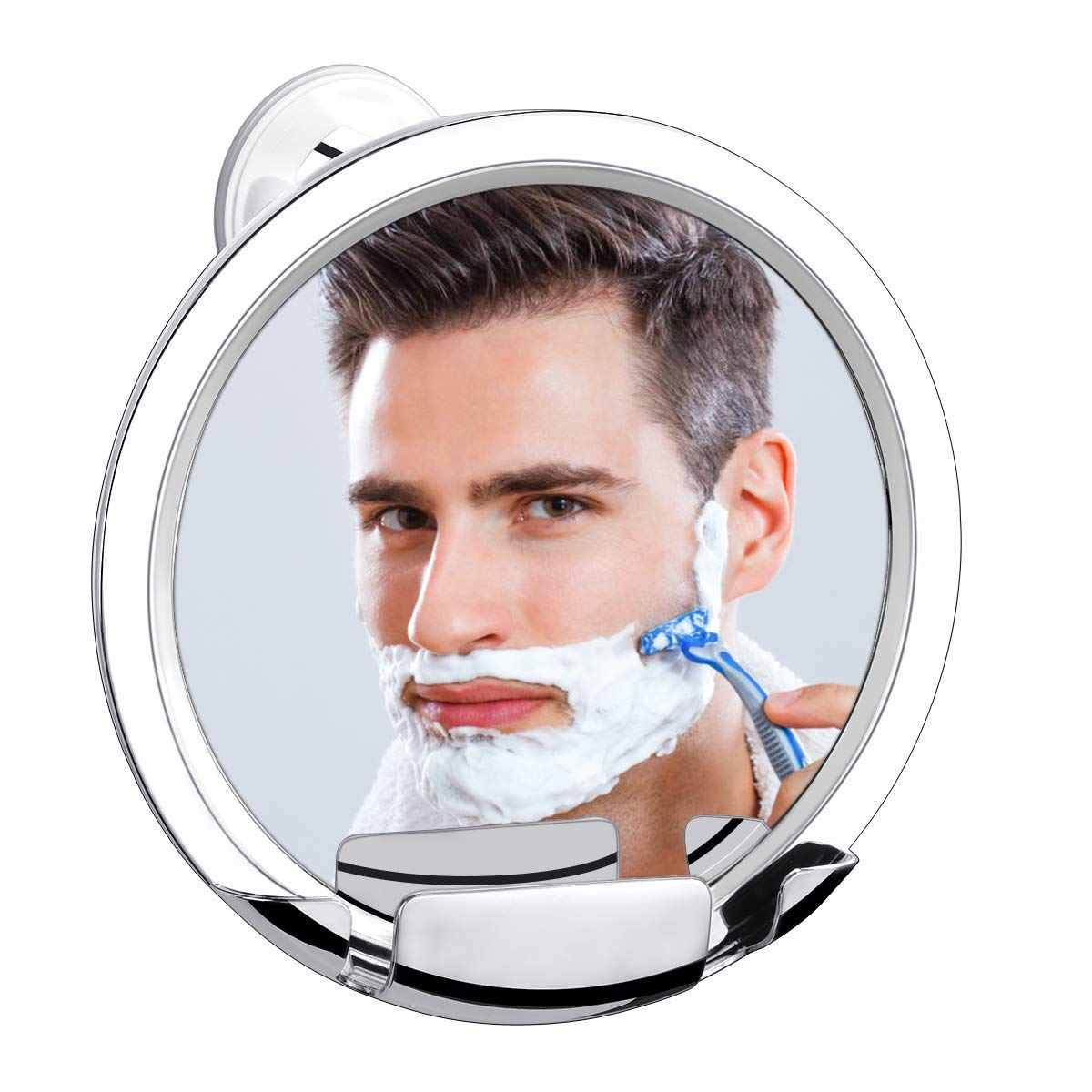 Shatterproof Fogless Shower Mirror, Fog Free Shower Shaving Mirror with Razor Holder and Strong Locking Suction, Fogless Mirror for Shower by Orange Tech, Guaranteed Not to Fog by Orange Tech