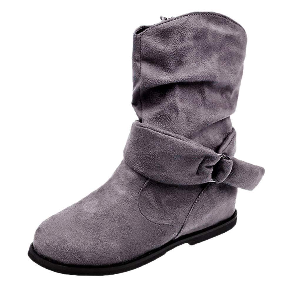 GiveKoiu Stivali Donna Invernali Stile Vintage Donne Scarpe da Ginnastica Stivali Soft Set di Piedi Stivali Stivaletti Middle Classici Boots Scarpe Cavaliere Stivali 35-43