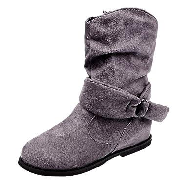 Botas Mujer Altas Zapatos De Moda Botines Planos De Color Sólido Militares Botas Mujer Invierno Con Cremallera De Color Sólido Casual Calzado: Amazon.es: ...