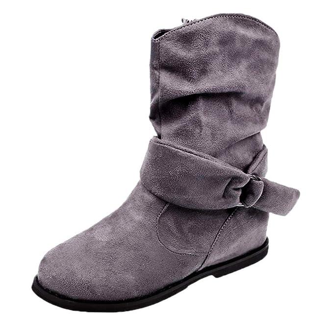 de9b8a25c Longra☛☛❤❤Ajustado para Mujeres con Estilo Botines Planos de Mujer de  Estilo Vintage Zapatos Suaves y Ajustados Botines de pies Botas Medianas