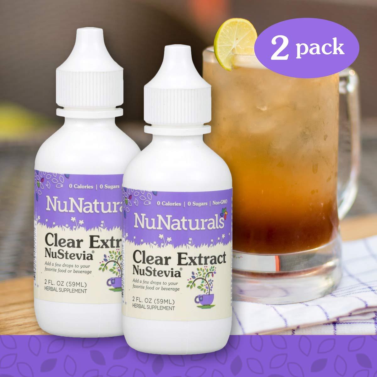 NuNaturals NuStevia Clear Extract Stevia Natural Liquid Sweetener, Sugar-Free (2 oz, 2 Pack) by NuNaturals