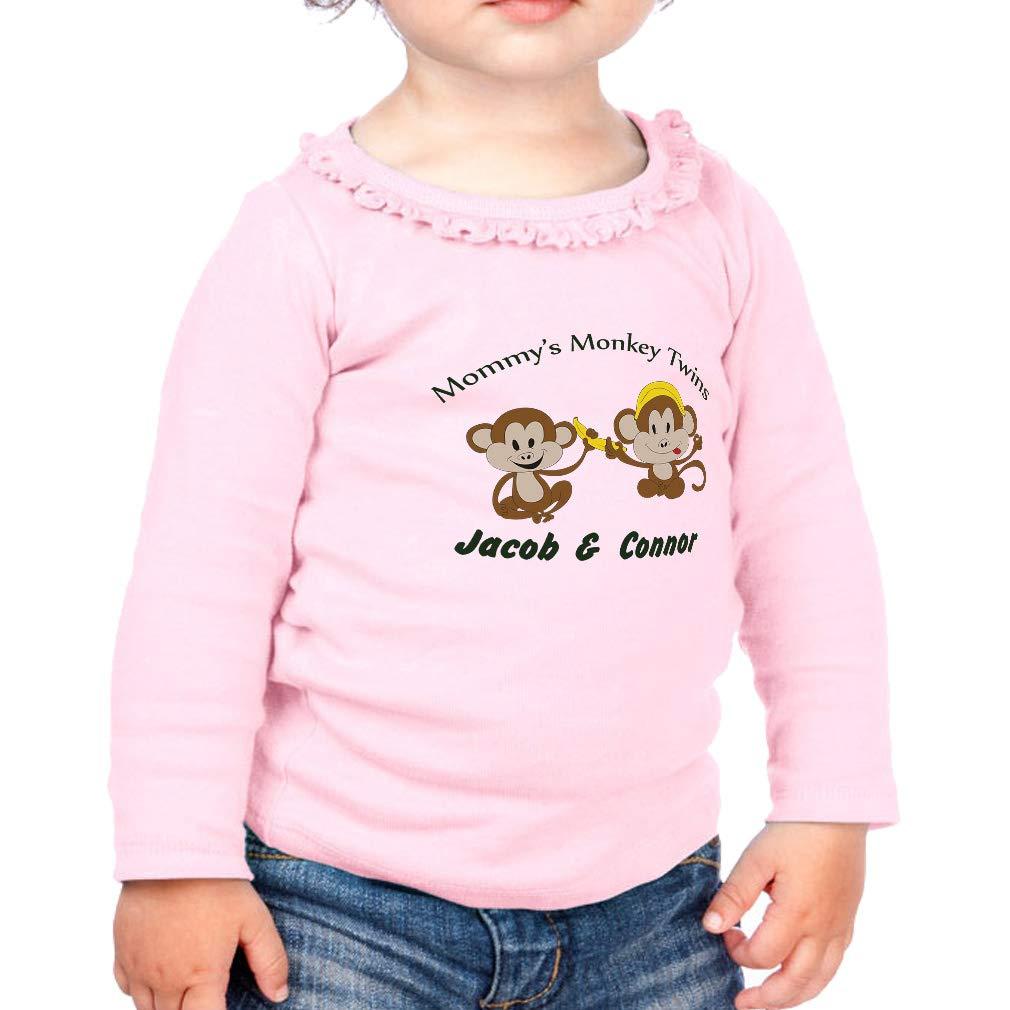 Personalized Custom Monkey Twins Cotton Toddler Long Sleeve Ruffle Shirt Top