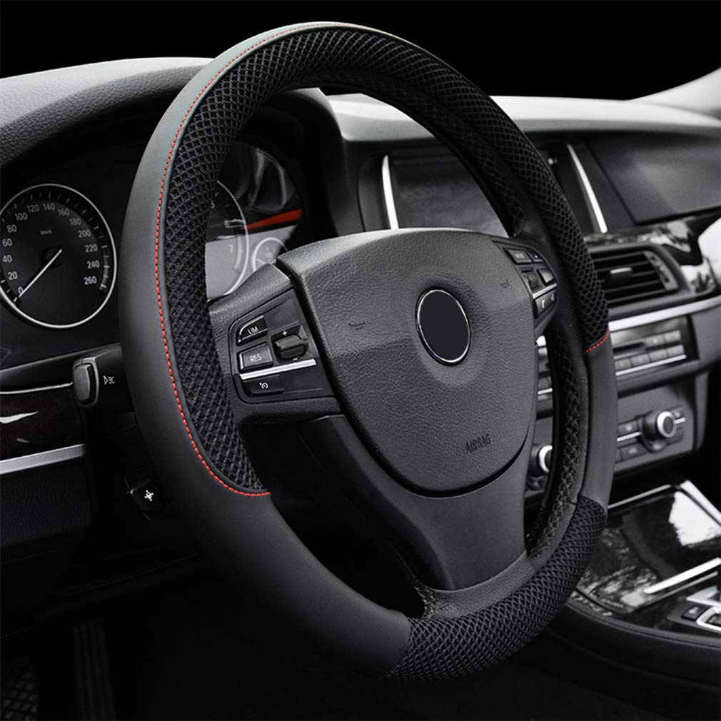"LucaSng Black Microfiber Leather and Ice Silk Fabrics Car Steering Wheel Cover Fit 14.56""-14.96"""
