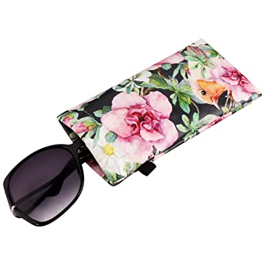 e55704eefc9 FL1 Sunglasses Pouch Case Eyeglasses Goggles Holder for Women Men Kids With  Microfiber Cleaning Cloth  Amazon.co.uk  Clothing
