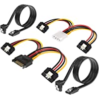 Profession SATA Power Splitter Cable, 4Pin to 2x15 Pin SATA Power Cable and SATA Cable III 6Gbps 90 Degree Right Angle with Locking Latch 18 Inch for Hard Disk HDD SSD CD Writer