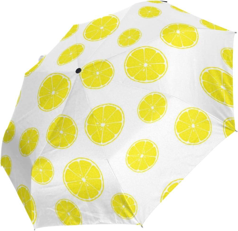 Large And Small Sliced Lemon fashion print cute Windproof automatic tri-fold umbrella sun UV protection Sun umbrella