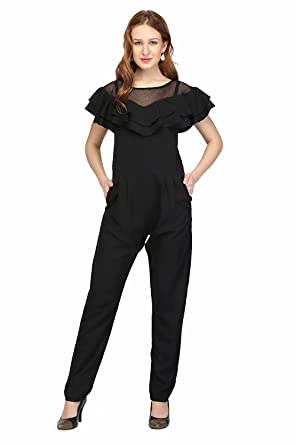 5d2d93c6892d Amazon.com: RADANYA Women's Jumpsuit Crepe Wrap Stylish Pant Black Dress  Fashionable Cocktails Party Wear Dress S-XXL: Clothing