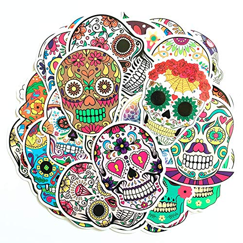 Hybsk Sugar Skull Stickers Laptop Skull Decals Dia de Los Muertos Mexican Day of The Dead Sticker Bomb Water Bottle Luggage Bike Computer Skateboard Vinyl Decal (50 -