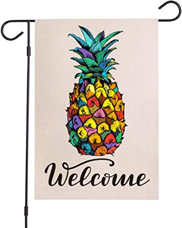 Welcome Garden Flag 18 X 12 Inch Holiday Outdoor Yard Flags with Pineapple Pattern Double Sided Seasonal Decorative Garden Flags for Outside Easter Summer Spring Fall Winter Farmhouse Decoration