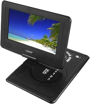 Garsent 9.8 Reproductor de DVD portátil, Auto Portable televisor Reproductor de DVD HD Baren de Giro de la Pantalla, admite USB/SD Slot, AV out/EN, con Cargador De Coche: Amazon.es: Electrónica
