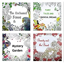 4 Designs/lot Adult Coloring Books mystery Garden beauty and beast/ Magical dream Enchanted Forest 24 Pages Kids Adult Painting Coloring Books
