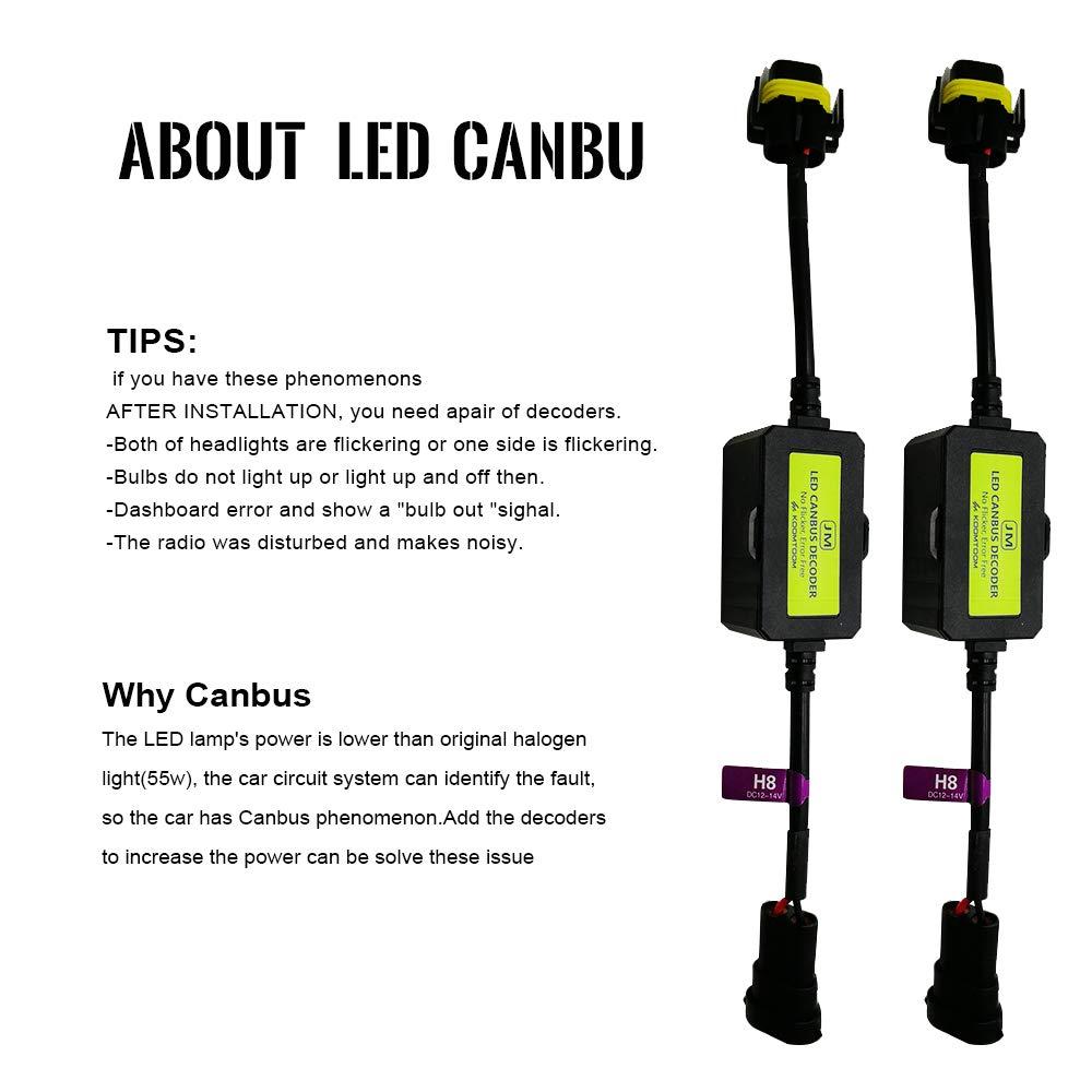 AnyCar Led Headlight Decoder 9005 9006 9012 Canbus Resistor Anti-flicker Harness Headlight Bulb Decoder for LED Headlight Warning 9005//HB3//H10//9006//HB4//9012//HIR2