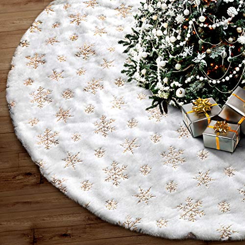 Fantaspic Series Tree Skirt, 48 inches Snowy White Faux Fur Christmas Party Decorations Indoor Outdoor New Year Holiday Festival Ornament Supplies (Christmas Snowy Decorations)