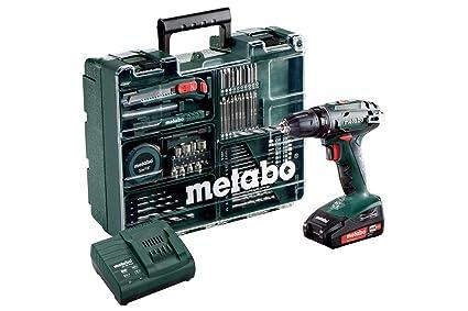 Metabo Akku-Bohrschrauber BS 18 Mobile Werkstatt Set (2x 2,0 Ah Akku inkl. Ladegerät, 18 V, 2 Gang, Brushless, Drehmoment-Stu