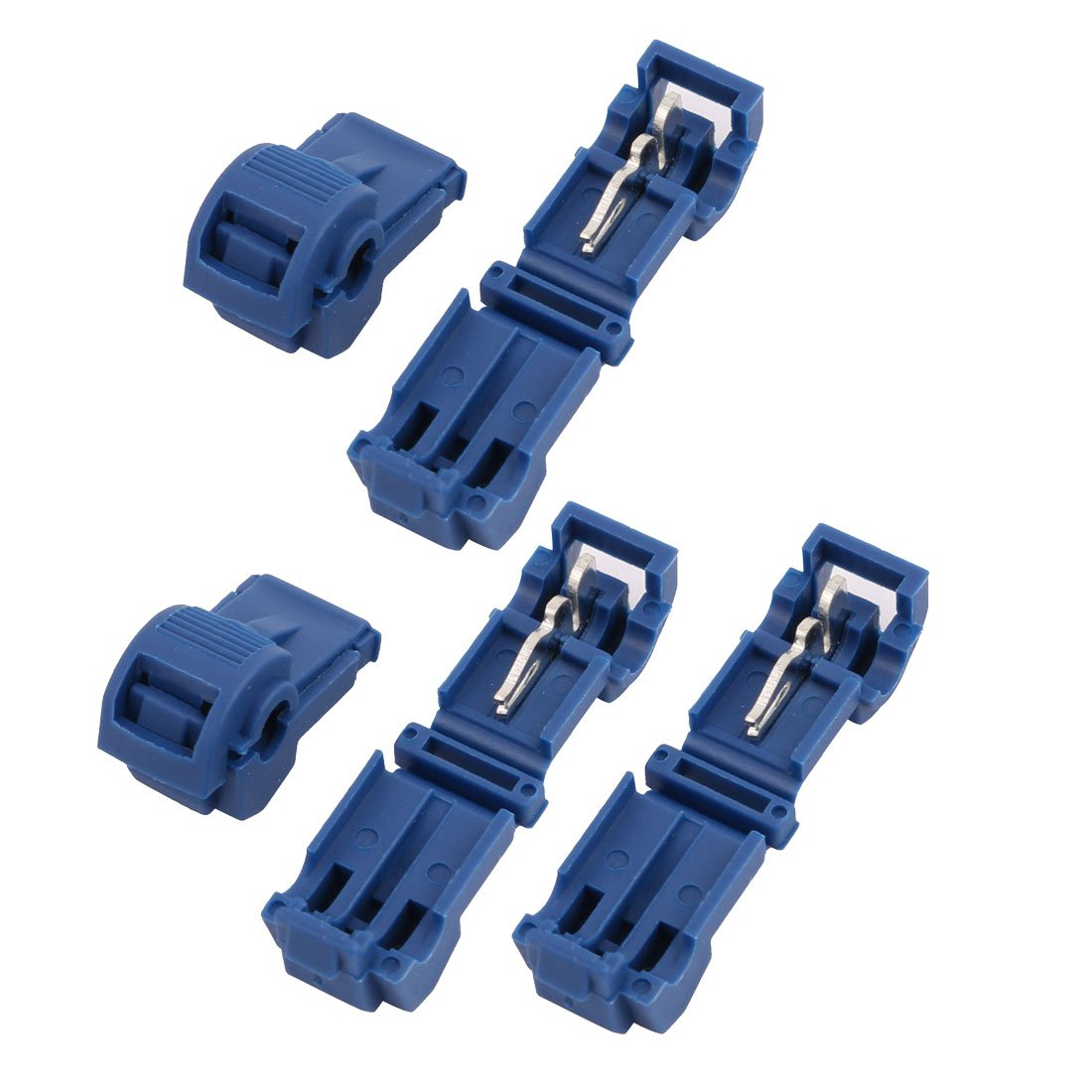uxcell 5Pcs Self-Stripping Electrical T-Tap Wire Spade Connectors Terminal Crimp Kit Blue