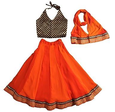 5803ce386 Little Emporio Baby Girl s Ghagra Choli Brocade Designer Orange ...