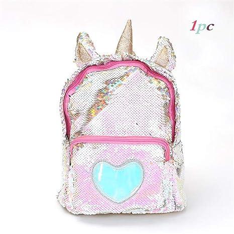 4a47d0d7464b Amazon.com | New Sequins Unicorn Backpack Women PU Leather Mini ...