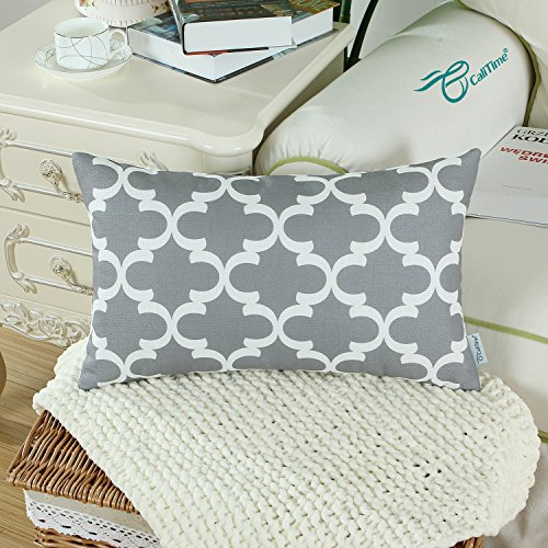 Pack of 2 CaliTime Bolster Pillow Covers Cases for Couch Sofa Home Decor, Modern Quatrefoil Accent Geometric, 12 X 20 Inches, Grey