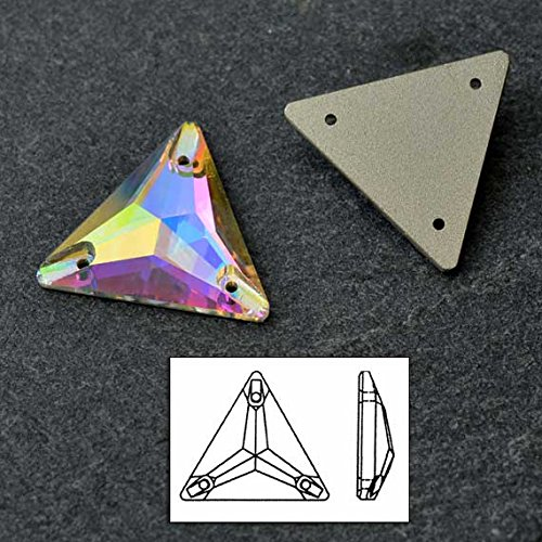 SWAROVSKI 3270 Sew On FlatBack TRIANGLE Crystal AB 22mm by 2pcs by Swarovski