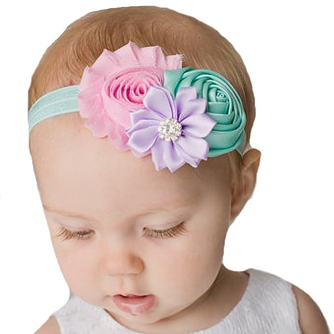 miugle recién nacido bebé niñas flores Diademas Shabby Chic: Amazon ...