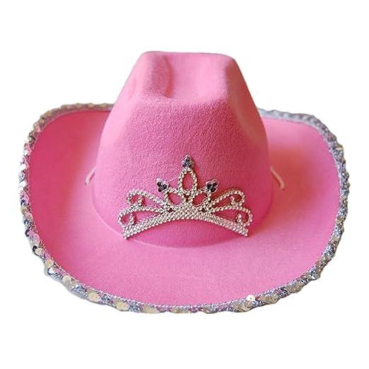 29ff00dc19178 Amazon.com  Pink Cowboy Cowgirl Tiara Felt Light Up Rodeo Princess Hat   Clothing