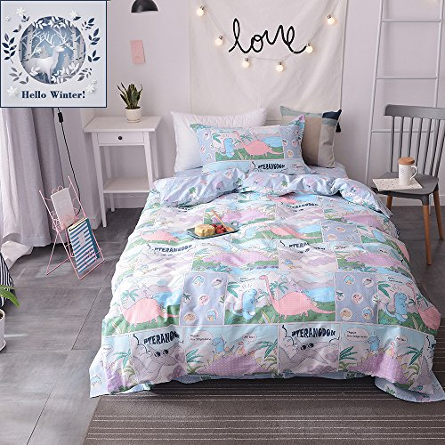 BuLuTu Cotton Dinosaur Kids Bedding Duvet Cover Sets Queen Reversible Print Full Bedding Collections 3 Piece Bed Set For Boys Zipper Closure With 4 Corner Ties For Home Bedding